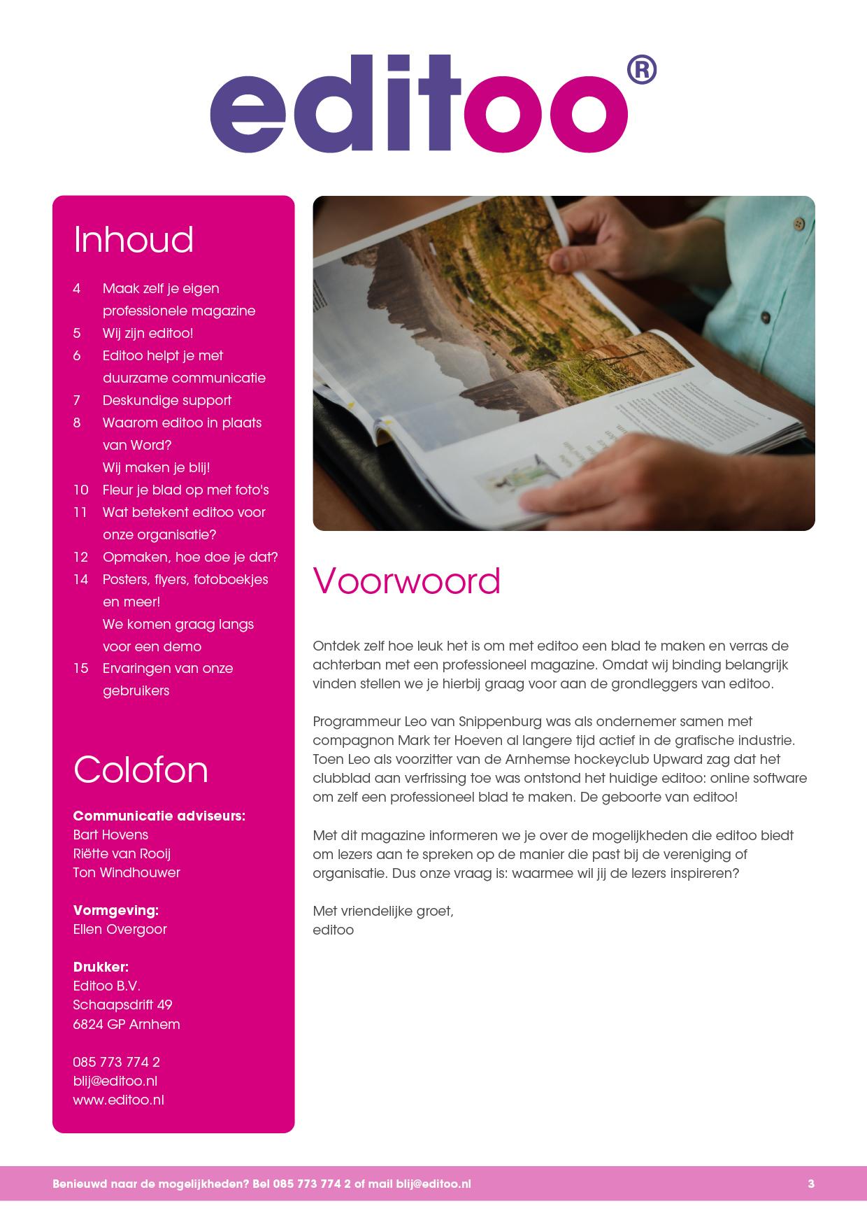 Pagina 3 - Inhoud, colofon en voorwoord*